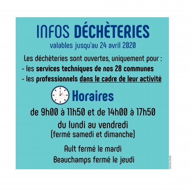 Horaires Decheteries Jusqu Au 24 Avril 2020